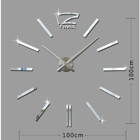 Horloges DIY argent 39 pouces Chambre Home Office Décoration Moderne Sans Cadre Grand DIY 3D Miroir Mur Autocollant Mute Horloge