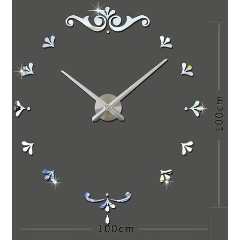 Horloges DIY argent Chambre à coucher maison à piles Frameless grand 3D miroir bricolage Wall Sticker Mute horloge, taille: 100