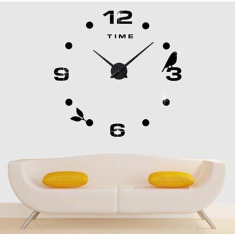 Horloges DIY noir Chambre Décoration De Bureau À La Maison Sans Cadre Grande Taille DIY 3D Miroir Surface Stickers Muraux Quiet