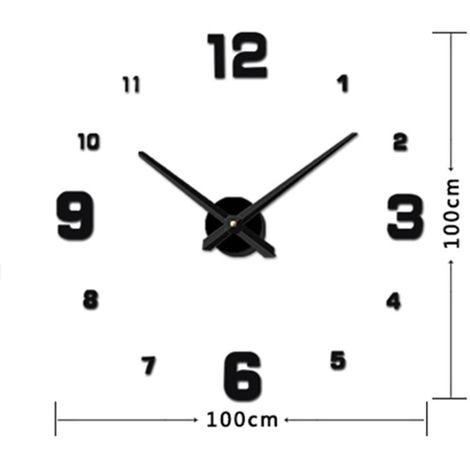Horloges DIY noir Chambre Décoration Miroir Numéro Frameless Grande 3D DIY Wall Sticker Mute Horloge, Taille: 100 * 100 cm