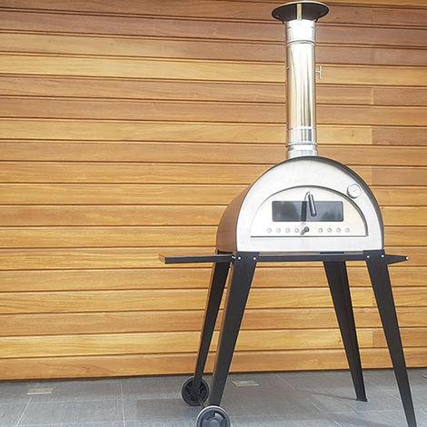 Horno a leña portátil, de acero inoxidable y ladrillo refractario, modelo Carpe Diem