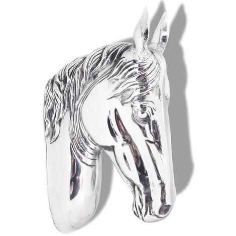 Horse Head Decoration Wall-Mounted Aluminium Silver - Silver
