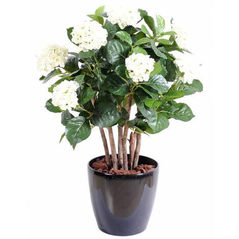 Hortensia artificielle BUISSON (80 cm) Haut de Gamme Hortensia CONTINENTAL Plantes artificielles - BLANC