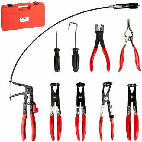 Hose clamp pliers set - hose clamp pliers, hose clamps, house clip pliers - black/red