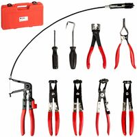 Hose clamp pliers set - hose clamp pliers, hose clamps, house clip pliers - black/red/