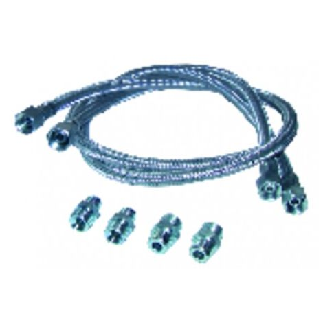 Hose fuel 2 x straight hose 1000mm with 4 fittings (X 2)