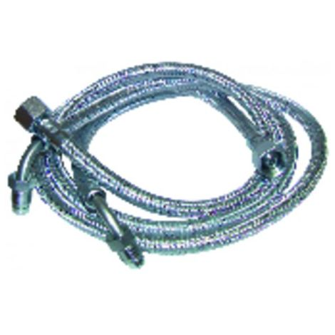 """Hose fuel f3/8"""" x m1/4 with ring bent 90° 900mm (X 2) - FRANCO BELGE : 183005"""