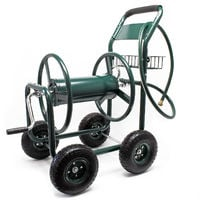 Hose Reel Cart with Basket Wheeled Hose Reel Holder for Outdoors Gardening