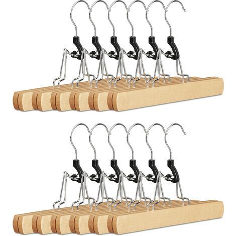 Hosenspanner Holz, 12er Set Kleiderbügel, 360° drehbarer Haken, Klemmbügel für Hosen, HBT: 17x25x2,3 cm, natur