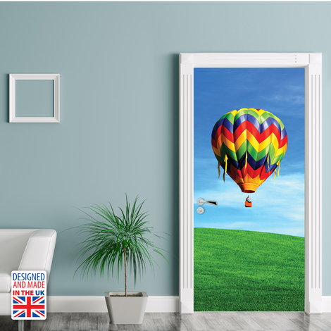 Hot Air Balloon Ride Self-Adhesive Door Mural Sticker For All Europe Size 90Cm X 200Cm