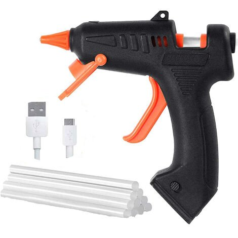 Hot glue gun, 15-piece fast and safe heating pins 15 W glue gun, with USB cable, anti-spill for repairs, handicrafts, do-it-yourself, do-it-yourself, home improvement, office