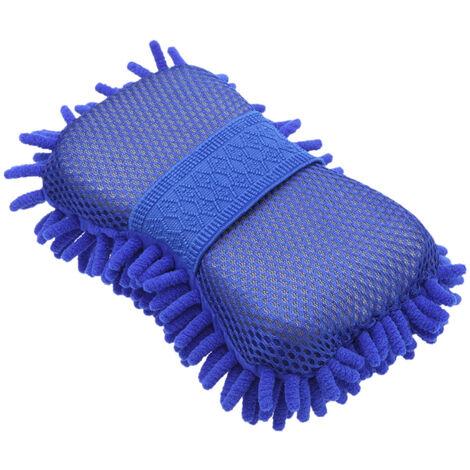 Hot New Microfibre Chenille Anthozoan Nettoyage De Voiture Eponge Serviette Chiffon Gants De Lavage De Voiture Fournitures De Rondelle De Voiture, Bleu