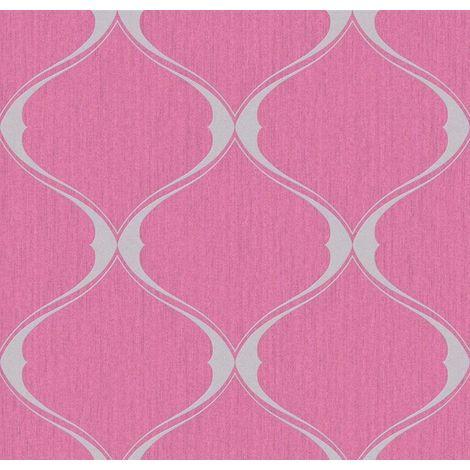 Hot Pink Lattice Trellis Wallpaper Glitter Grey Textured Vinyl Graham Brown