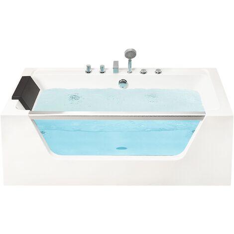 "main image of ""Hot Tub Bath Hydro Massage White Acrylic Black Headrest Overflow 170 cm Manta"""