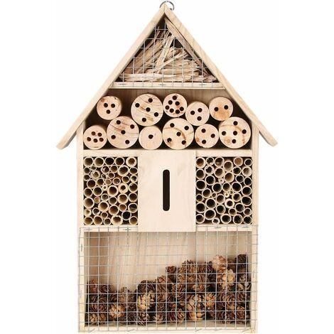 Hôtel à Insecte Bois Maison des lnsectes,Hôtel à Insectes,Abeille Maison Hôtel,Abri d'insectes Naturel Abri de Jardin en nid de Bambou Papillon Jardin Cabane abri 48 x 26 x 8 cm