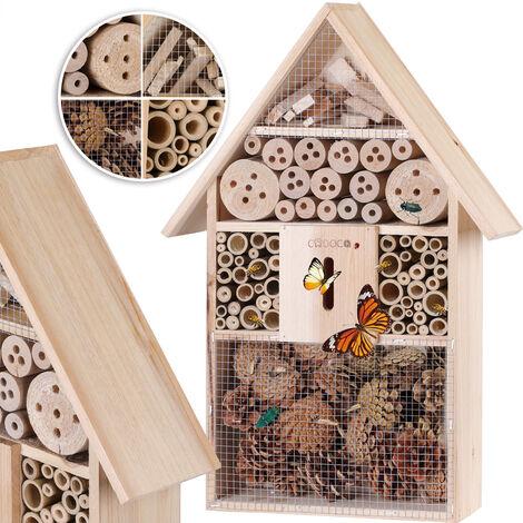 Hôtel à insecte XXl en Bois naturel - 48 cm x 31 cm x 10 cm - Abri insecte protection hiver