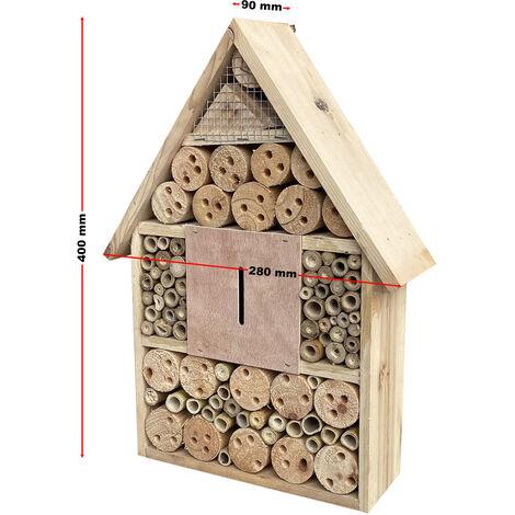 Hôtel à insectes 280x90x400 mm Nichoir naturel pour arachnide Abri Refuge Biodiversité Jardin