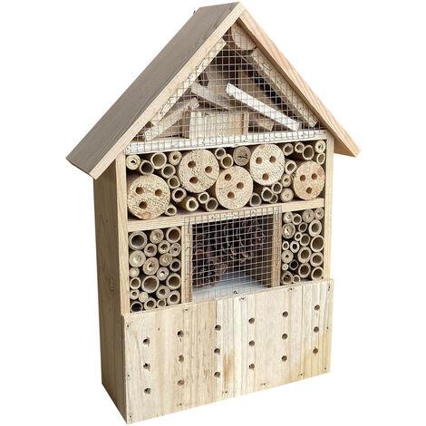 Hôtel à insectes 285x110x370 mm Nichoir naturel pour arachnide Abri Refuge Biodiversité Jardin
