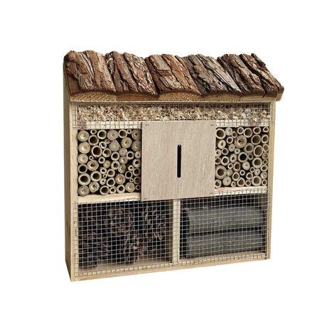 Hôtel à insectes 305 x 95 x 310 mm Nichoir naturel pour arachnide Abri Refuge Biodiversité Jardin