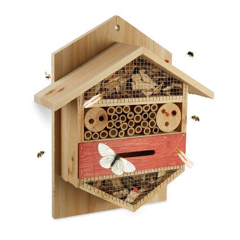 Hôtel à insectes abri refuge jardin balcon terrasse abeille papillon bois HxlxP: 33,5 x 28,5 x 10 cm, nature