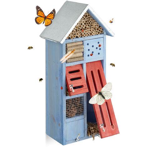 Hôtel à insectes avec toit en métal balcon terrasse jardin abeille coccinelle papillon HxlxP: 48,5 x 24 x 14 cm refuge abri, bleu