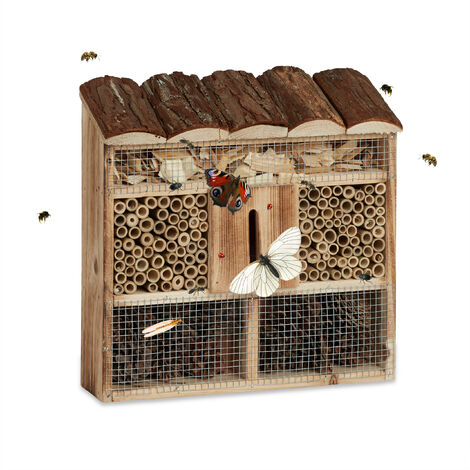 Hôtel à insectes en bois à suspendre abri abeille refuge papillon grillage HxlxP: 31 x 30,5 x 9,5 cm, nature