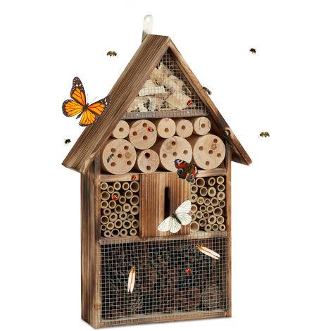 Hôtel à insectes en bois brûlé 50 cm à suspendre abri abeille refuge papillon grillage, nature