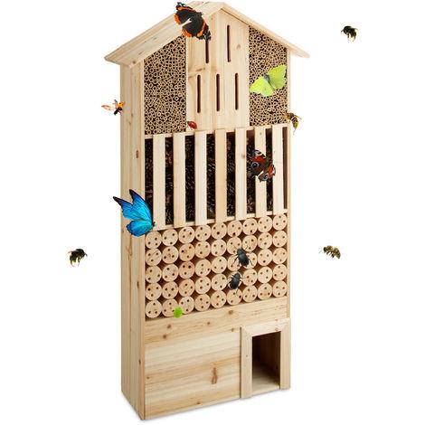 Hôtel à insectes en bois XXL abri abeilles papillon jardin balcon hérisson HxlxP: 118 x 57 x 24 cm, nature