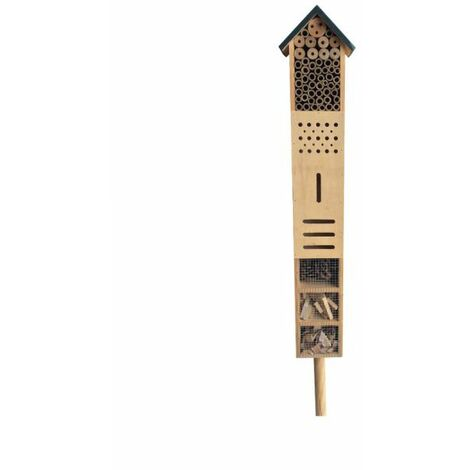 Hotel à insectes en sapin et bambous sur pic HAUTEUR 80 cm