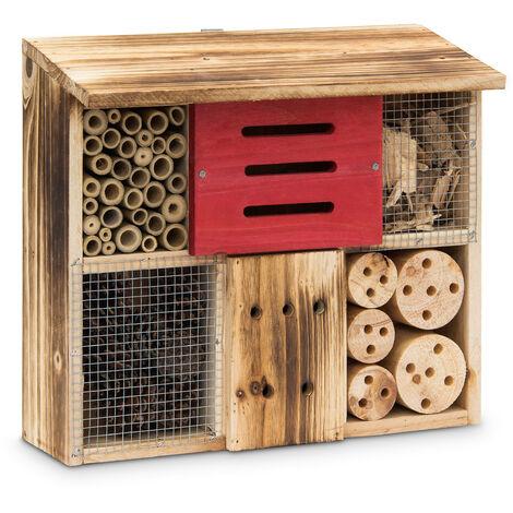 Hôtel à insectes HxlxP 29 x 33 x 13,5 cm toit plat en bois naturel brûlé maison à insectes boîte à papillons abri à abeilles coccinelles guêpes refuge en bois, naturel