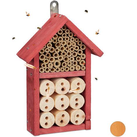 Hôtel à insectes kit assembler refuge insecte abeille abri coccinelle maison à insectes, 26 x 16 x 6 cm, rouge