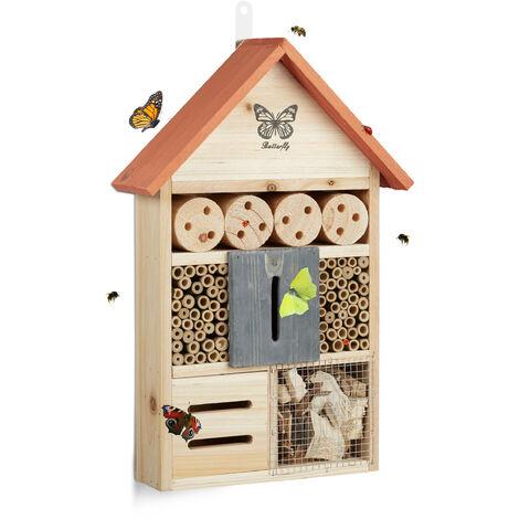 Hôtel à insectes papillon coccinelle abeille jardin balcon à suspendre HxlxP: 41,5 x 27,5 x 8,5 cm, orange