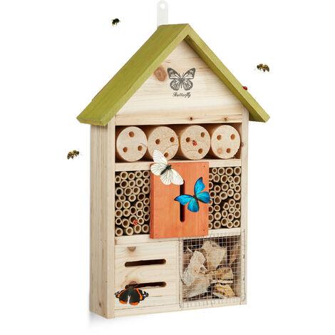Hôtel à insectes papillon coccinelle abeille jardin balcon à suspendre HxlxP: 41,5 x 27,5 x 8,5 cm, vert