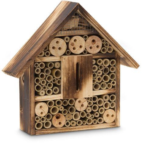 Hôtel à insectes toit plat en bois naturel brûlé HxLxP 28,5 x 30 x 9 cm maison à insectes boîte à papillons abri à abeilles coccinelles guêpes refuge en bois, naturel