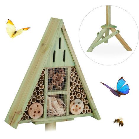 Hôtel à insectes triangle pied, Maison à insectes, abeilles refuge bois, Nid cabane HxlxP: 130x42x35cm, vert