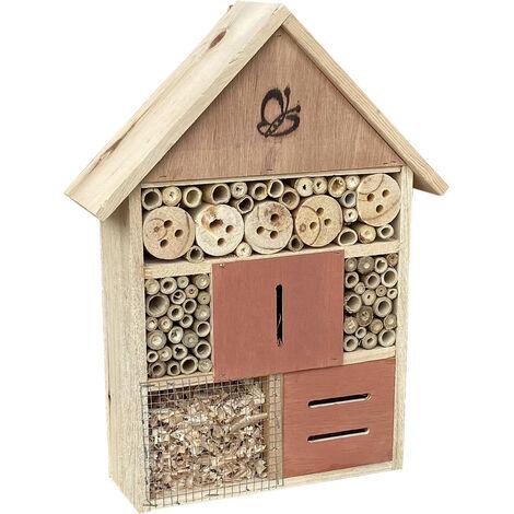 Hôtel d'insectes 275 x 90 x 140 mm, aide à la nidification naturelle des insectes