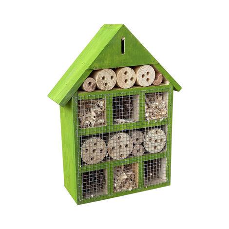 Hotel para insectos 230 x 80 x 300 mm, ayuda para la anidación de diferentes insectos, en verde