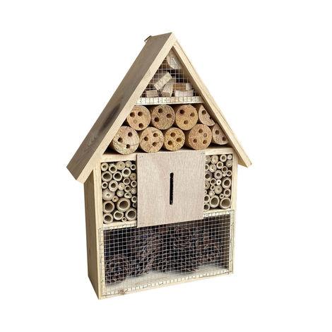 Hotel para insectos 285 x 90 x 385 mm, ayuda para la anidación de diferentes insectos, color natural