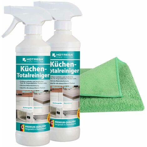 HOTREGA Küchen Totalreiniger 2x 500 ml inkl. Microfasertuch Micro Star, Küchenreiniger, Herdreiniger, Arbeitsplattenreiniger