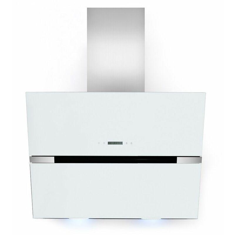Hotte acier en verre blanc de 60 cm évacuation LED / recyclage - MERCATOXL