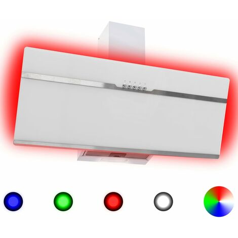 Hotte avec LED RVB 90 cm Acier inoxydable et verre trempe