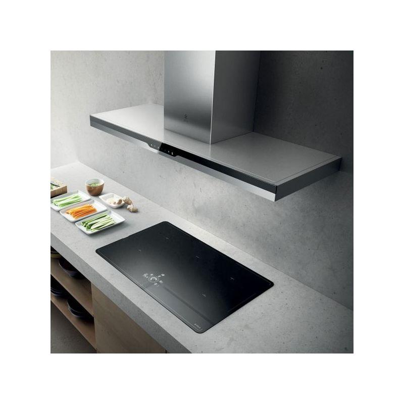 Hotte cuisine murale METEORITE inox et verre noir 900 (mm) - Elica