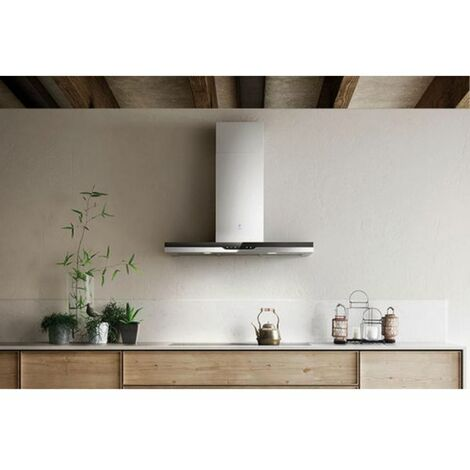 Hotte cuisine murale Elica TOP inox et verre noir - 1200 (mm)