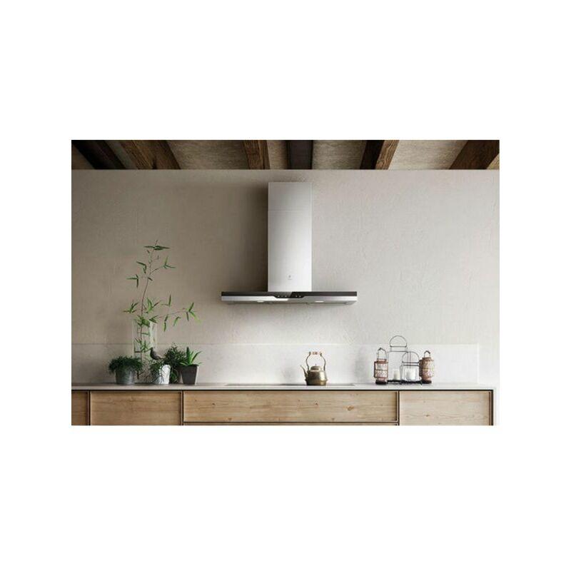 Hotte cuisine murale TOP inox et verre noir - 1200 (mm) - Elica