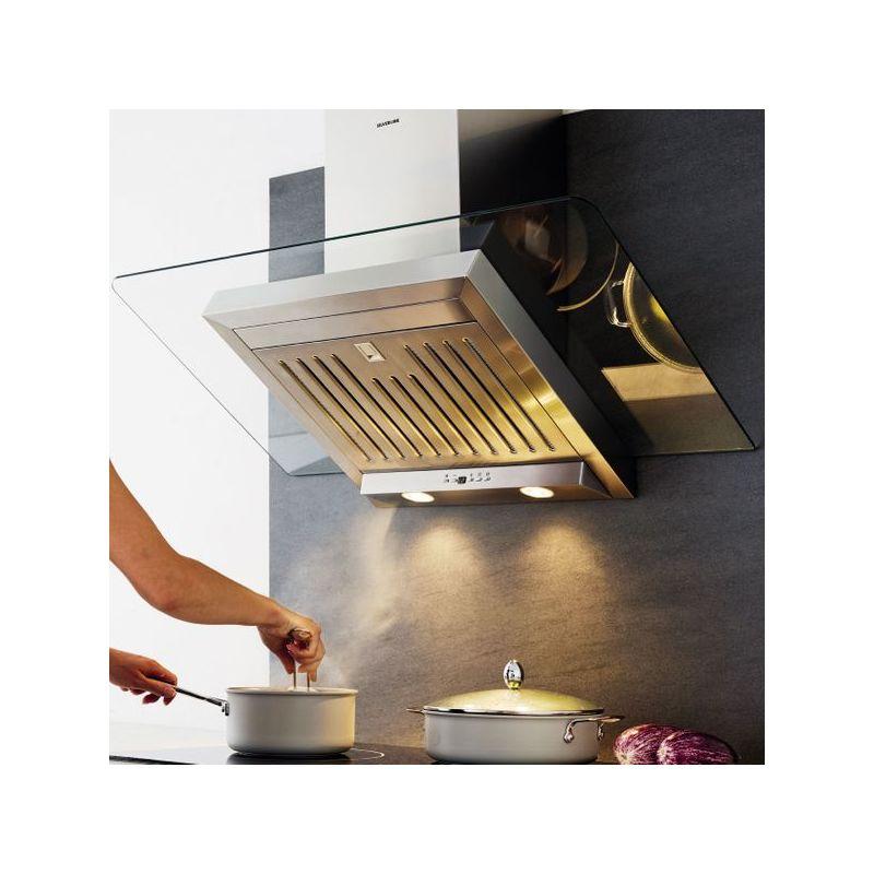 Hotte cuisine murale ATIKA inox et verre 90 cm - 900mm - Silverline
