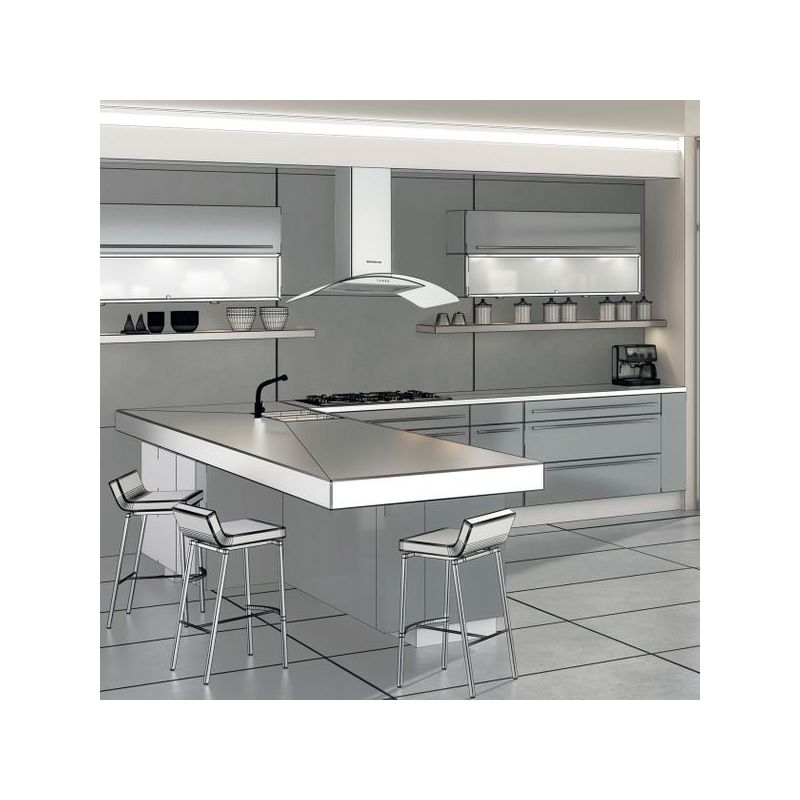 Hotte cuisine murale Silverline ZINIA inox et verre 60 cm