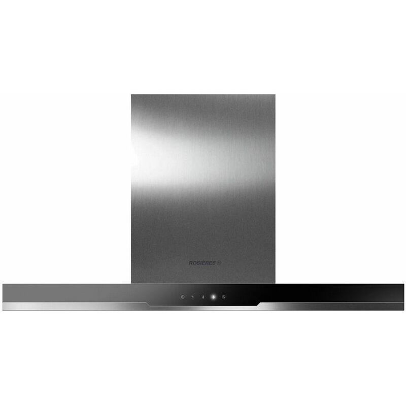 hotte décorative 90cm 510m3/h inox verre noire - rdsv985pn - Rosieres