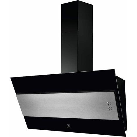 hotte décorative inclinée 60cm 600m3/h noir - lfv319y - electrolux
