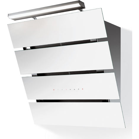 hotte décorative inclinée 80cm 580m3/h blanc/inox - 5066003 - roblin