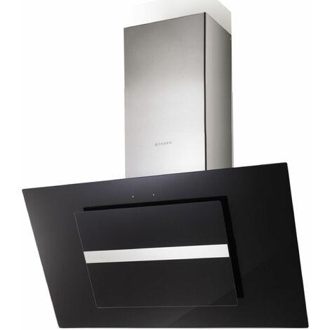 hotte décorative inclinée 90cm 570m3/h verre/noir - 0280369 - faber